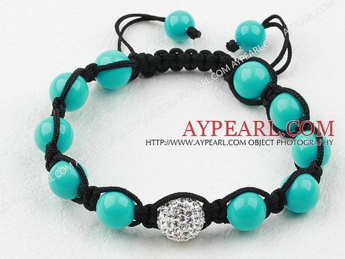 10mm Blue Seashell and Rhinestone Woven Drawstring Bracelet with Adjustable Thread