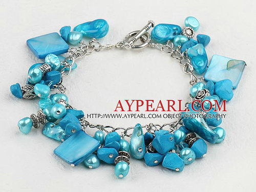 Lovely Blue Blister Freshwater Pearl And Square Shell Bracelet With Toggle Clasp
