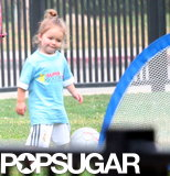 The Beckhams watched little Harper play soccer in LA.