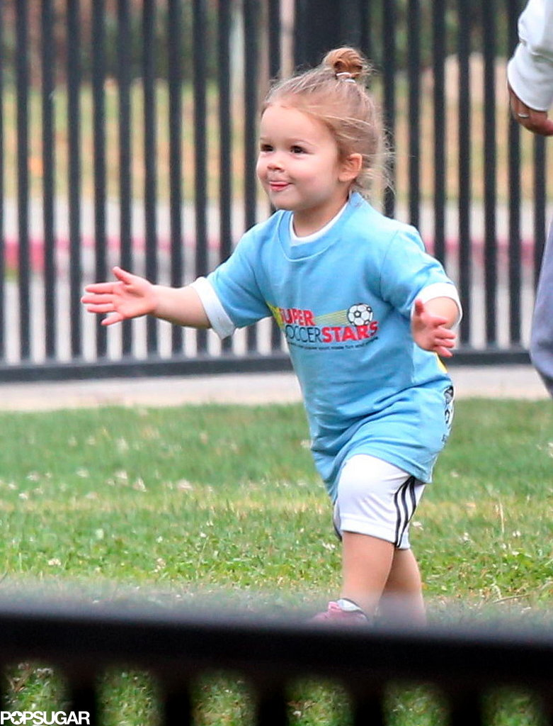 Harper Beckham celebrated after scoring a goal in front of her family.