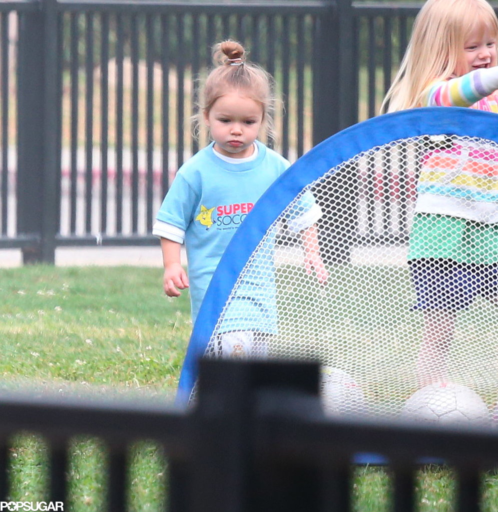 Harper Beckham showed that soccer skills run in the family, scoring a goal while her family watched from the sidelines.