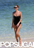 Kate Moss was all smiles during her dip in the ocean.