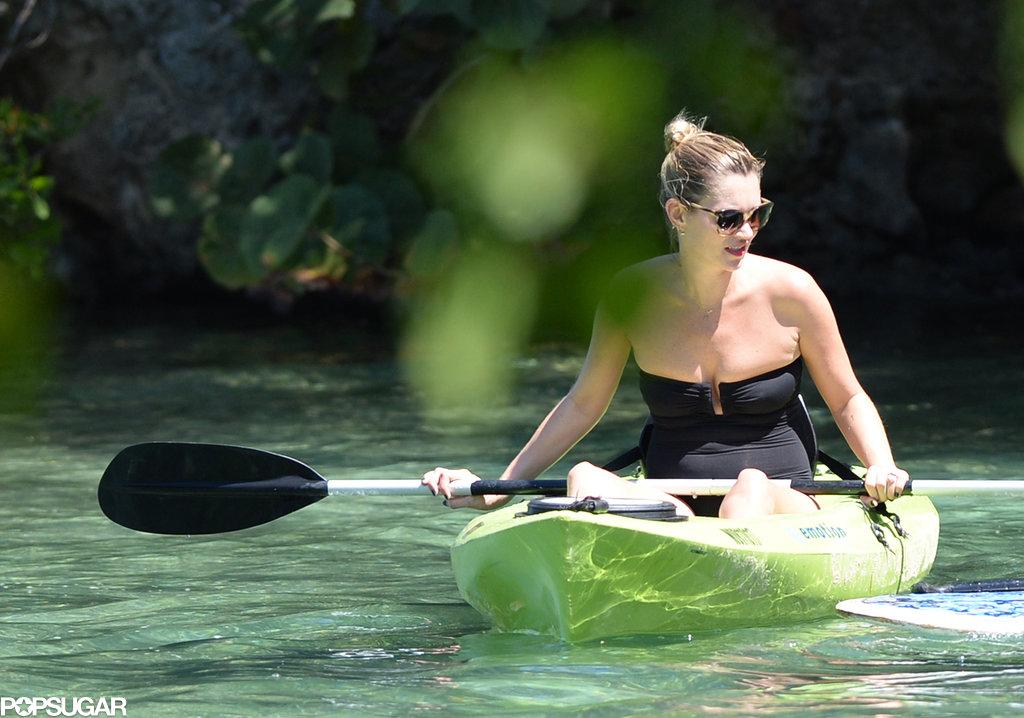 Kate Moss went kayaking in Jamaica.
