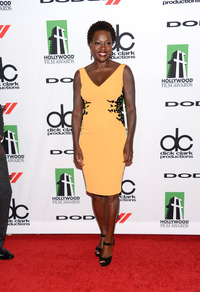 Viola Davis posed for photos on the red carpet at the Hollywood Film Festival.