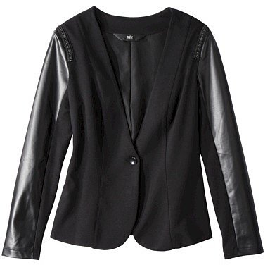 Mossimo® Womens Faux Leather w/ Chain Detail Ponte Jacket