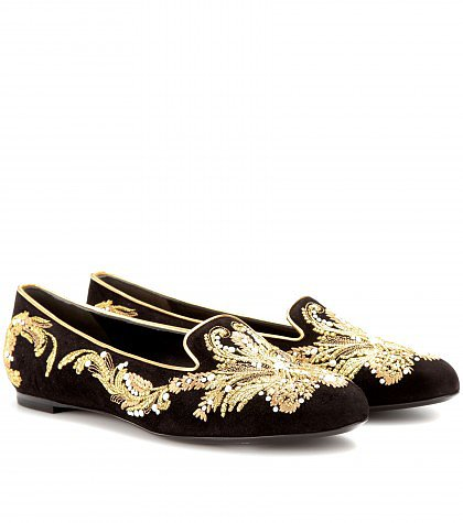 Alexander McQueen - Embellished slipper-style loafers