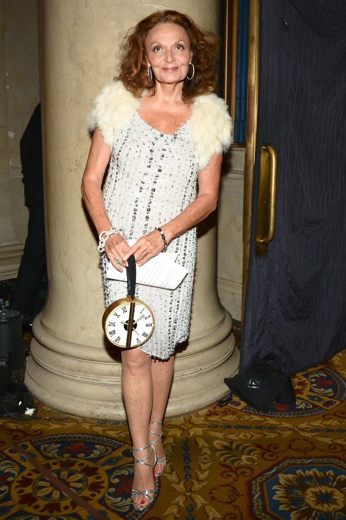 Diane von Furstenberg warmed up her cocktail dress with fur cap sleeves.