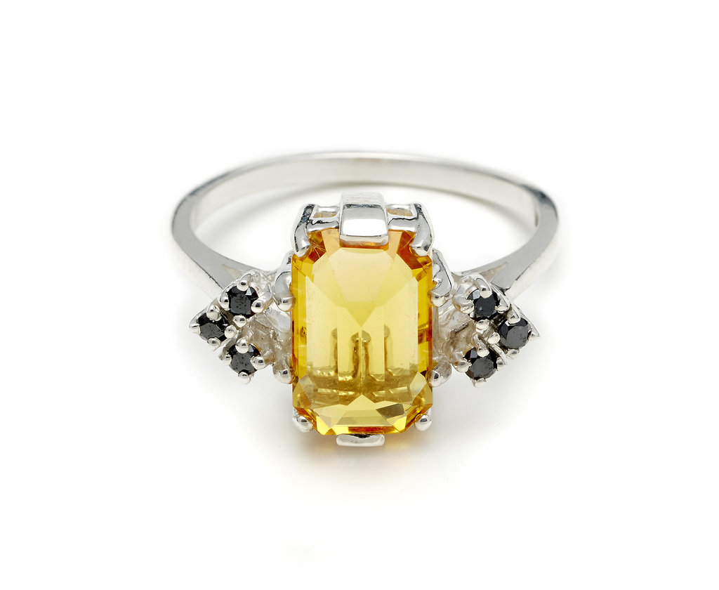 Anna Sheffield Bea Arrow Ring in Citrine and Black Diamond ($975)