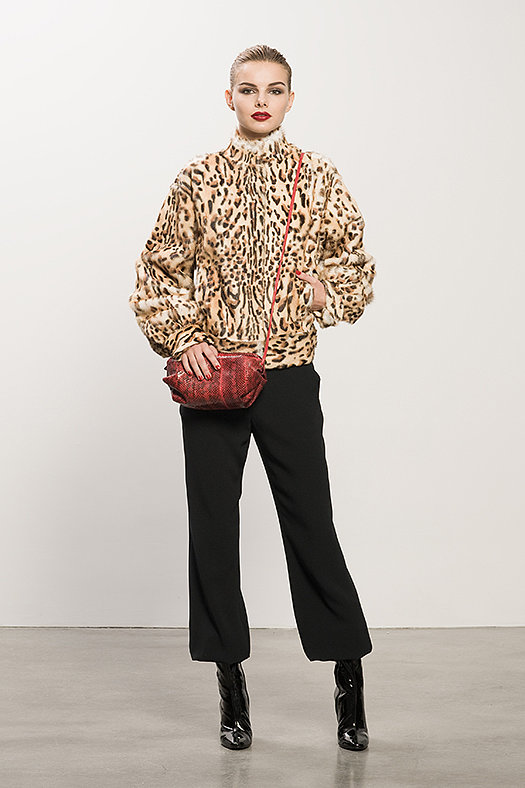 Leopard Goat Hair Bomber ($1,995), Crepe Black Elastic Bottom Pant ($59