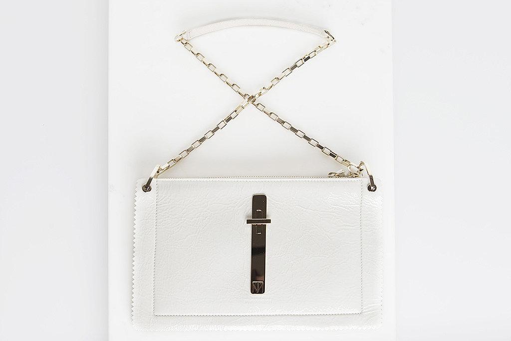 Attraction Patent Shoulder Bag in Cream ($1,795) Photo courtesy of Tamara Mellon