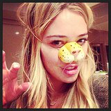Hilary Duff got a head start on Halloween by wearing a cat nose around the house. Source: Instagram user hilaryduff