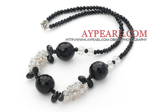 Assorted Black Series Black Crystal and Black Agate Necklace with Lobster Clasp