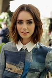 We have a girl crush on Lily Collins's playfully mussy lob, bold brows, and smoky eye.
