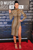 Katy Perry wore a leopard dress with a thigh-high slit for the MTV VMAs in Brooklyn in August 2013.