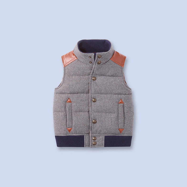 Does this gray flannel puffer vest ($159) come in adult sizes, too?