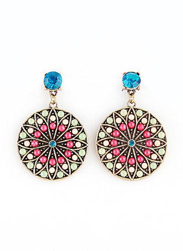 Blue Gemstone Gold Bead Round Earrings