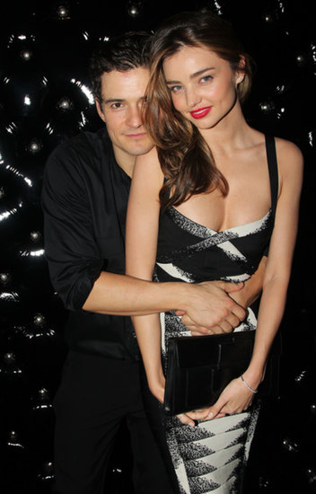 Miranda Kerr cuddled Orlando Bloom at the opening of his Broadway play, Romeo and Juliet, in September 2013.