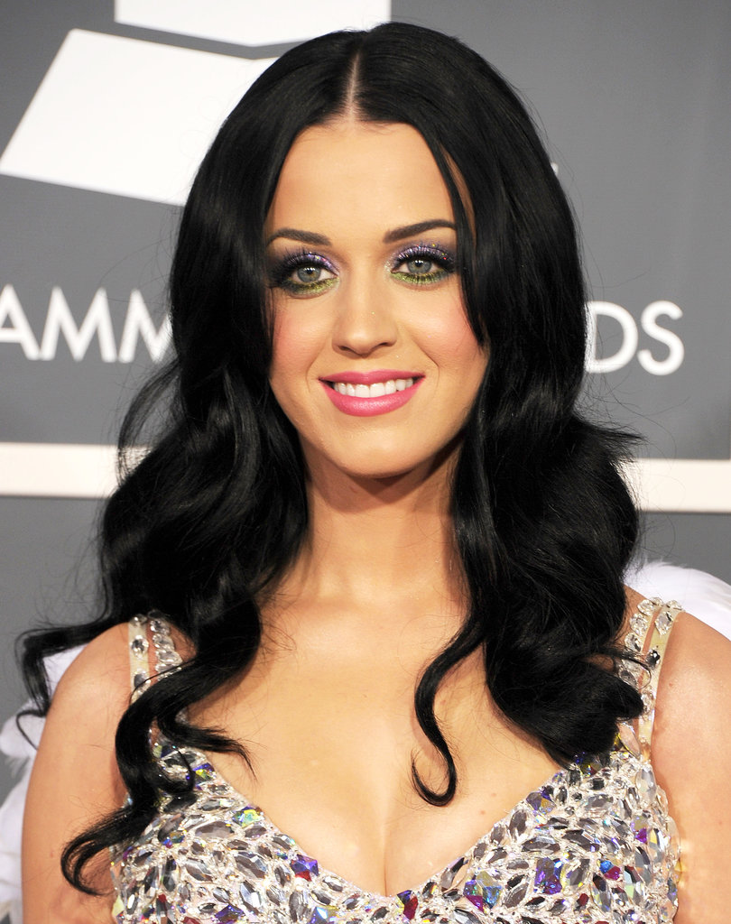 For the 2011 Grammys, Katy ditched her rainbow hair for a rich black mane.