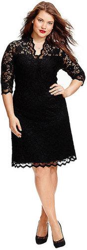KAREN KANE WOMENS Plus Elbow-Sleeve Lace Dress