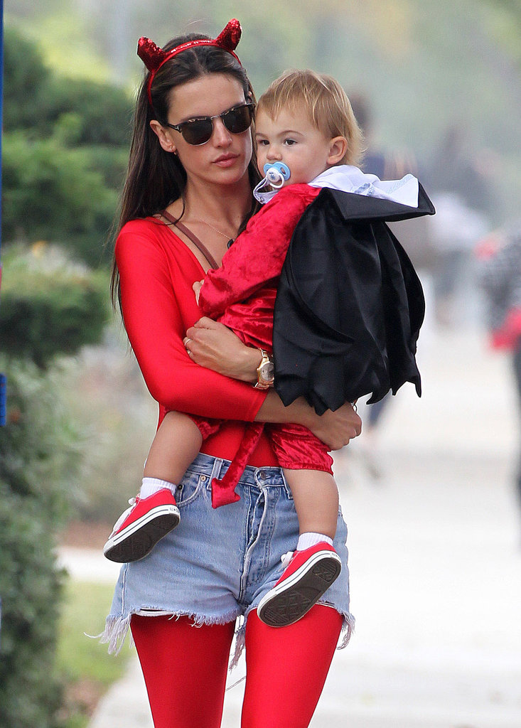 Alessandra Ambrosio and her son, Noah, looked adorable as matching devils at a fair in LA.