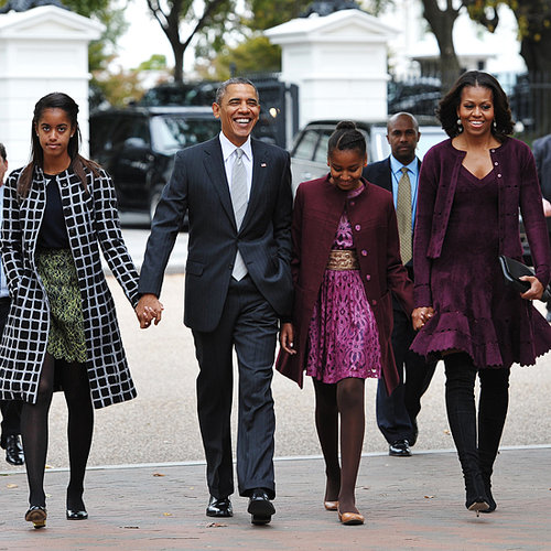 Michelle Obama and Sasha Obama in Matching Dresses