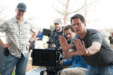 Director Gavin Hood on the set of Ender's Game.