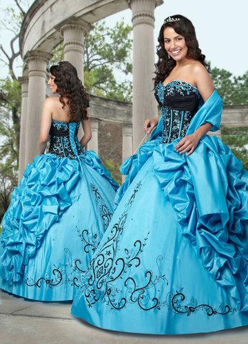 Ball Gown Sweetheart Applique Ruffled Taffeta Floor-length Quinceanera Dress at sweetquinceaneradress.com