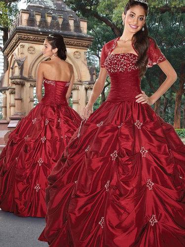 Ball Gown Strapless Taffeta Floor-length Beading Quinceanera Dresses at sweetquinceaneradress.com