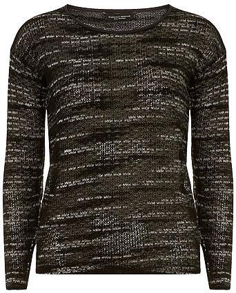Black trimmed slub jersey knit