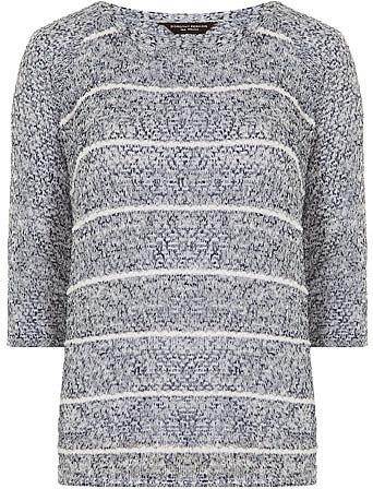 Blue stitch stripe jersey knit