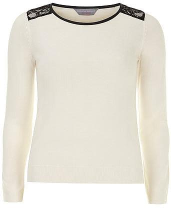 Petite lace shoulder jumper