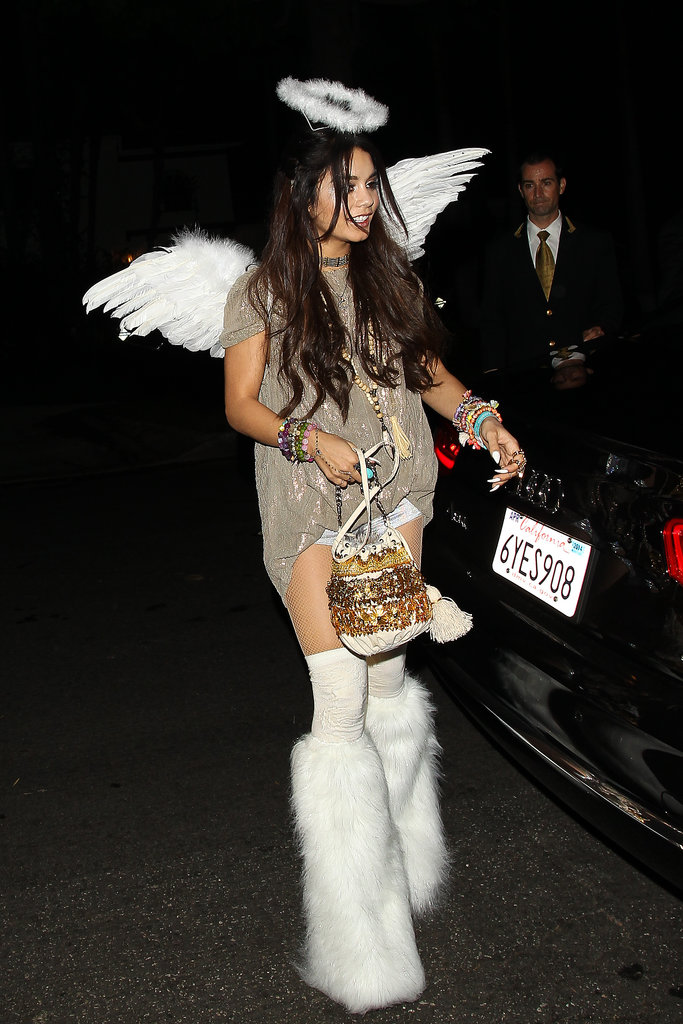 Vanessa Hudgens outfitted a unique play on an angel for a costume party in Beverly Hills.
