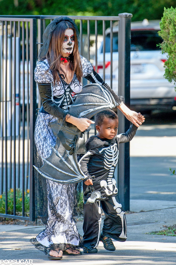 Sandra Bullock's son chose a skeleton costume, while the actress donned full Day of the Dead wear.