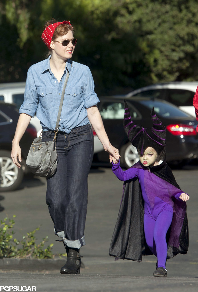 Amy Adams joined her little one in the Halloween fun, showing off an easy-to-re-create Rosie the Riveter costume.
