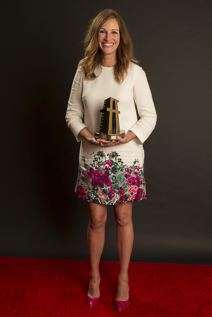 Julia Roberts couldn't contain her excitement after being honored with a Hollywood Film Award in October 2013.