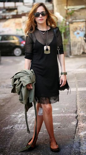 Street-slip dress with lace