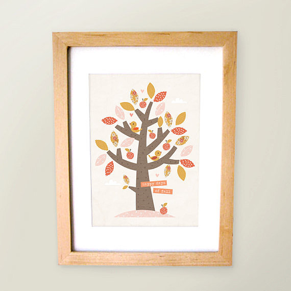 """Happy days for Fall"" is the perfect saying for this colorful, leafy print ($15)."