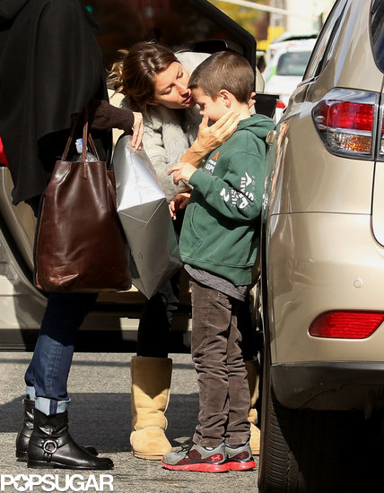 Gisele Bündchen kissed her stepson, Jack, goodbye at a Boston train station.