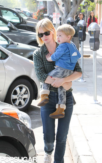 January Jones took little Xander to lunch in LA.