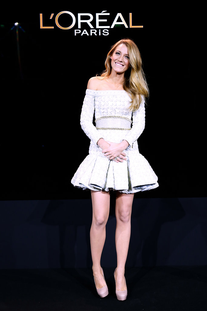 Blake Lively stood on stage at the Shangri-La Hotel in Paris.