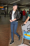 A leather jacket is key to keep on hand for chilly long-haul flights.