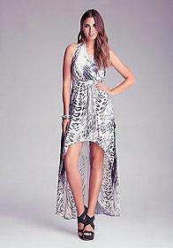 Printed High Low Halter Dress at bebe