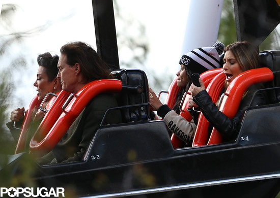 Kim Kardashian was texting and riding during a roller-coaster ride with Bruce and Kris Jenner.
