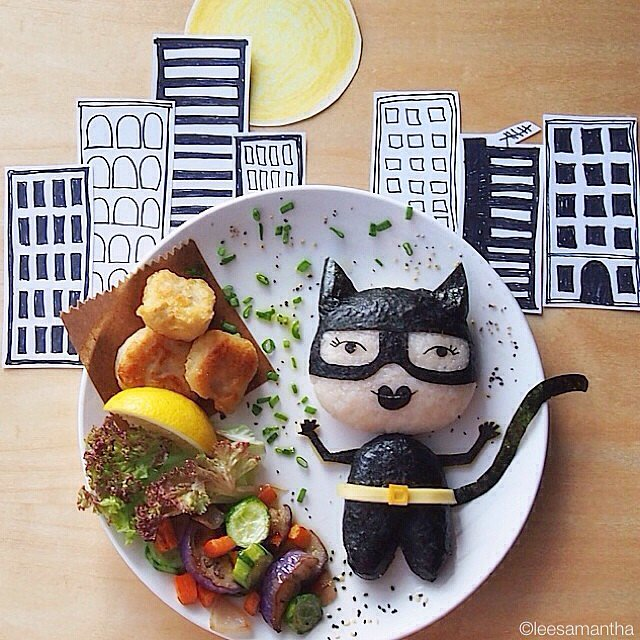 Even without the city skyline in the background, this Catwoman creation is more memorable than most adult food.  Source: Instagram user leesamantha