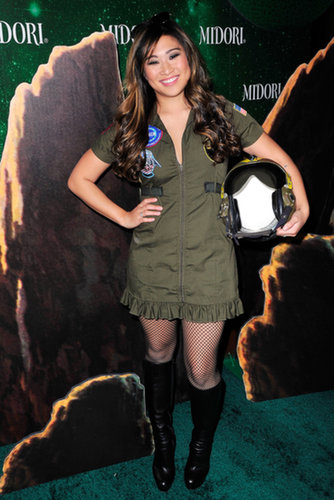 Jenna Ushkowitz channeled a Top Gun fighter pilot at the 2013 Midori Green Halloween party in LA.