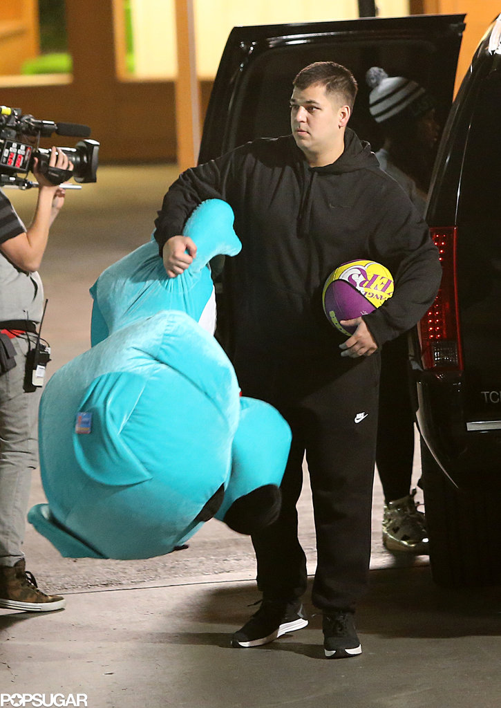 Rob Kardashian carried a huge stuffed animal.