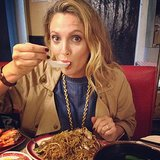 "Drew Barrymore indulged in a plate of ""awesome Chinese food"" in the Chinatown neighborhood of NYC. Source: Instagram user drewbarrymore"