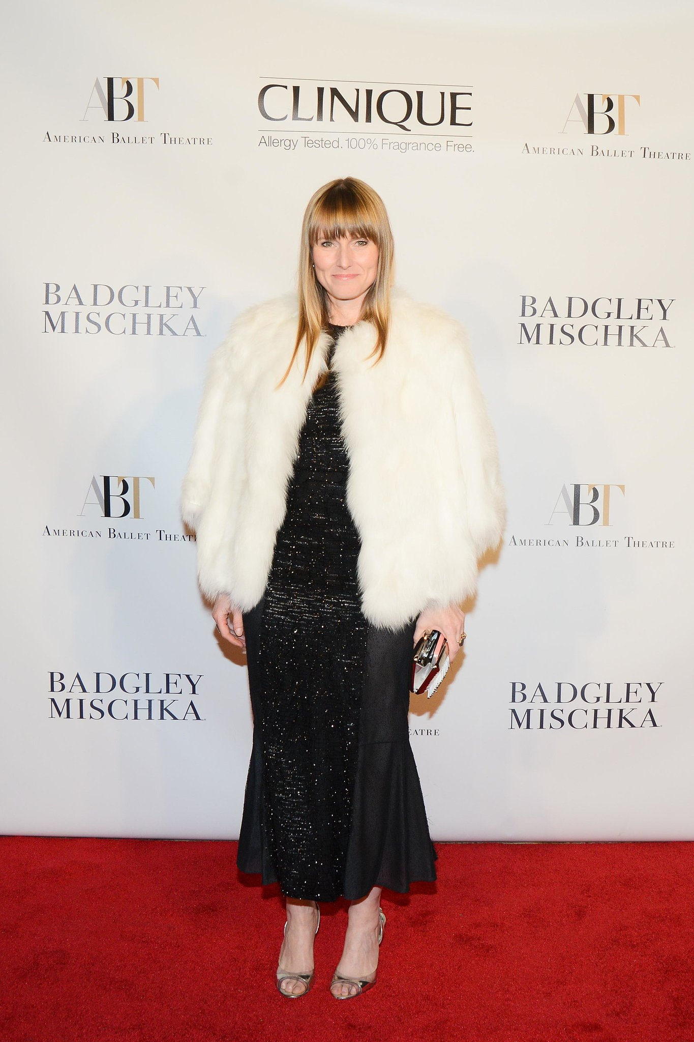 Amy Astley layered in a furry white topper at the Lincoln Center American Ballet Theatre event.