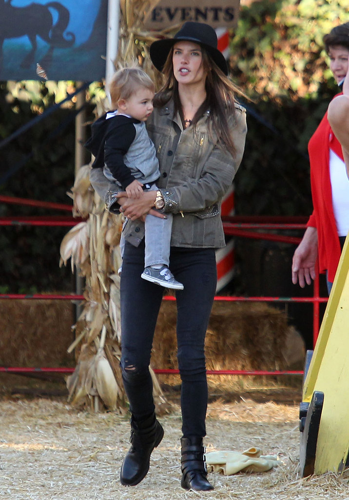 Alessandra Ambrosio headed to the pumpkin patch the day before Halloween in LA while wearing 3x1 jeans.