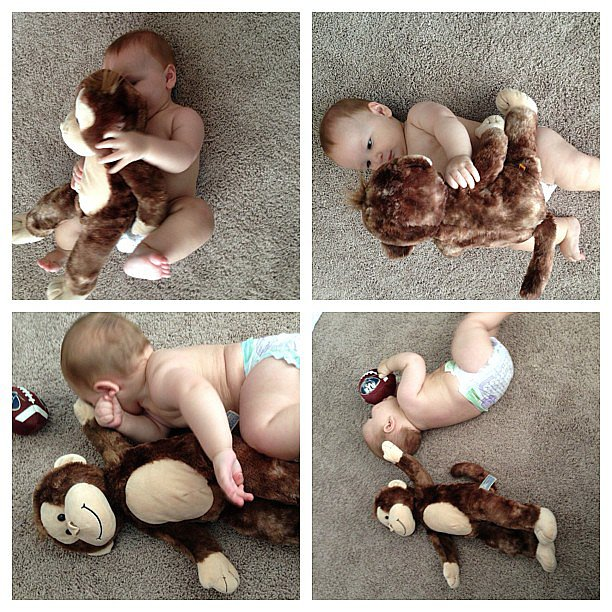 When you take pictures every month of your baby with the same stuffed animal to measure his growth, but at six months, he refuses to sit still.  Source: Instagram user maryorganizes